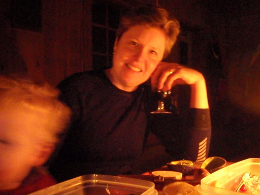 Julie in Keogan cabin, Gatineau Park
