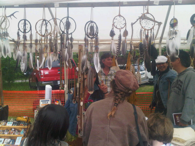 The crafts on display included jewelry, dreamcatchers, drums and artwork.