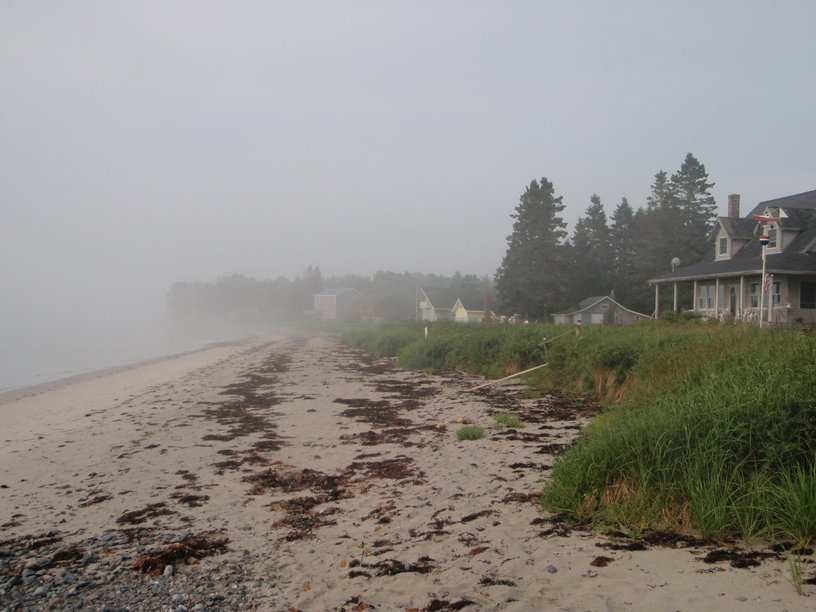 Early morning fog on Jonesport Beach