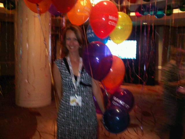 Here is Andrea in one of a number of fun art installations that took place on the Voices of the Year Gala evening. She doesn't like being in photos, which is silly since she has supermodel cheekbones but I don't think she'll mind this one because it's blurry -- and cute too!