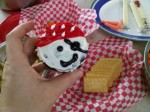 A pirate cupcake at a pirate picnic