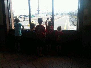 grandchildren waiting at VIA Rail in Halifax