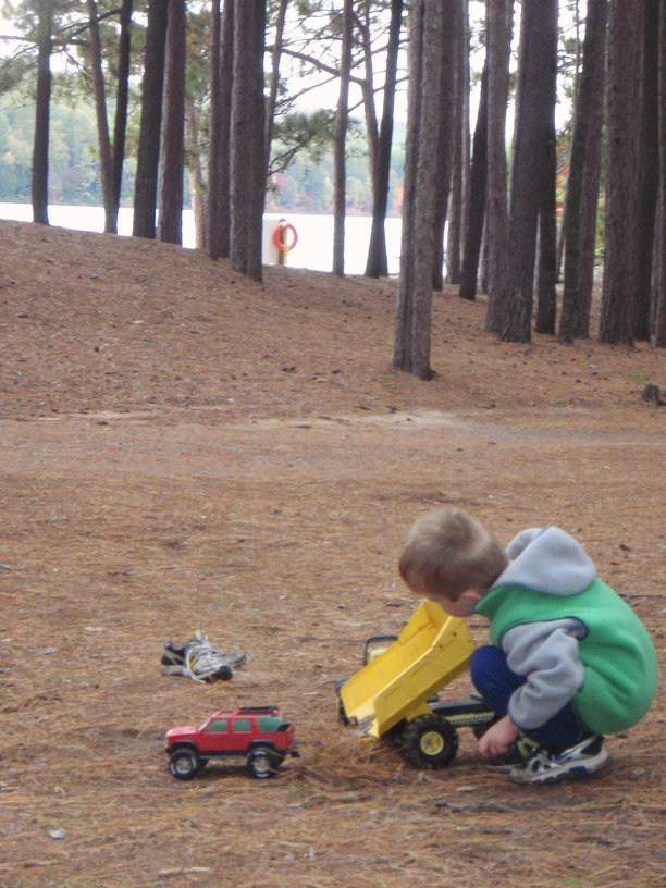 Playing Trucks at Acray Campground