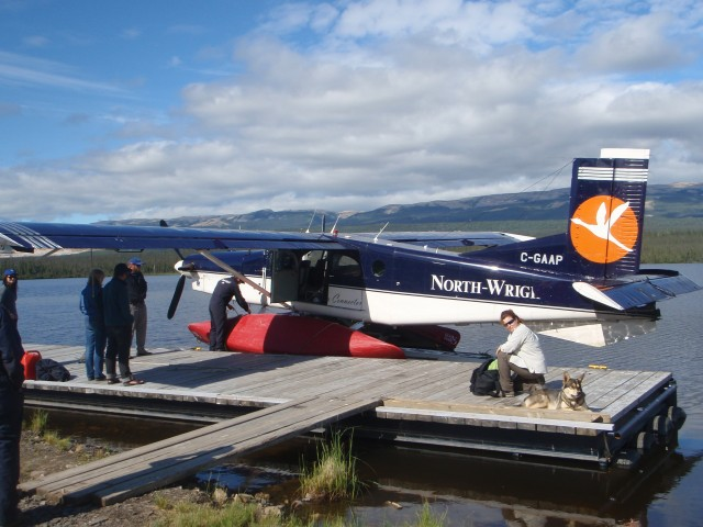 Getting ready to go on the float plane.