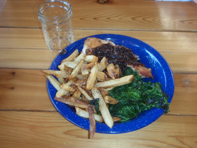 Chicken, Kale Salad, Fries