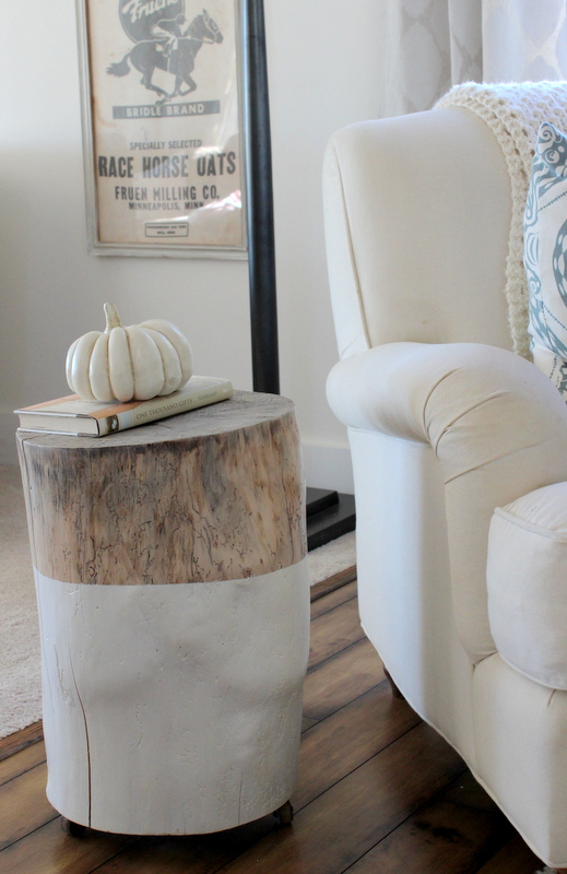 Dipped tree stump side table