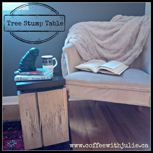 tree stump table on Coffee with Julie