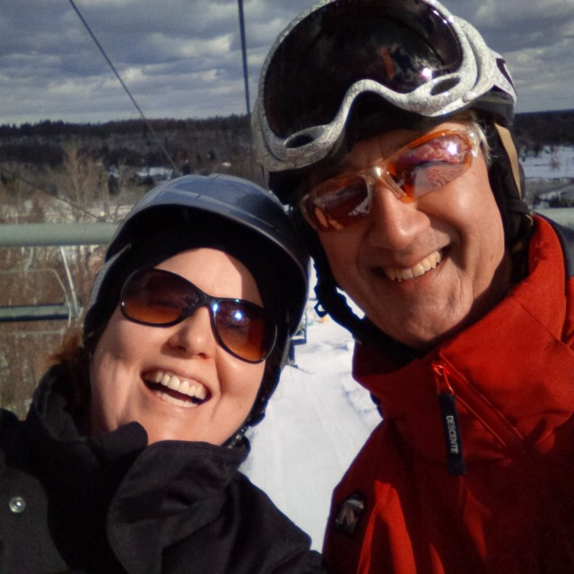 Selfie on the chair lift! This is my Calabogie Peaks ski instructor Don.