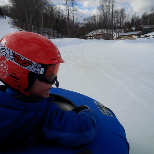 An action shot from one of the two tubing tracks at Calabogie Peaks Resort.