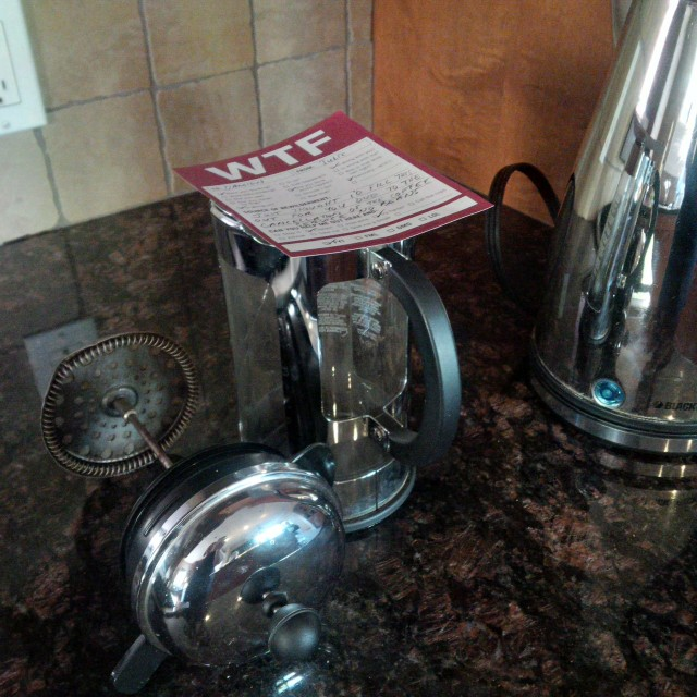 Image of Coffee Press with Note