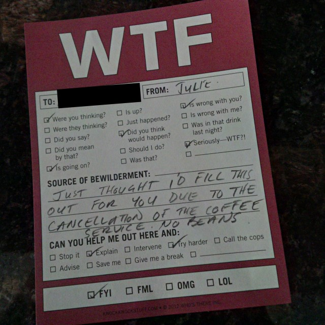 Photo of WTF note left for Julie