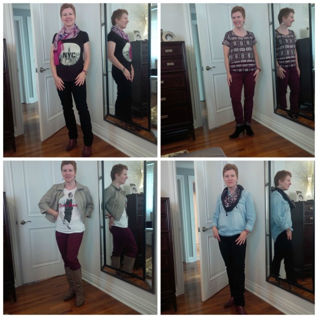 Here are 4 more outfit combinations. If any of the pics are unflattering, it's the photographer not the woman!