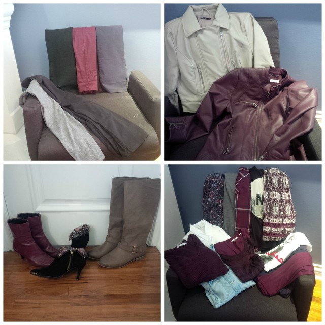 Clockwise from top: 2 leggings and 3 pairs of pants; 2 autumn jackets; 2 booties and 1 tall pair of boots; 3 short-sleeves, 4 long-sleeves, and 3 tanks