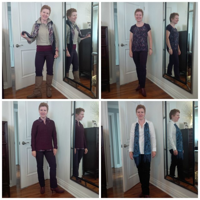 I had Trish try on a ton of outfit combinations. Here are 4. She's a great sport!