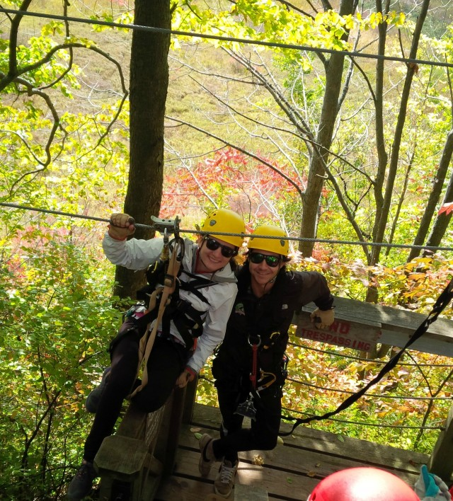 Long Point Eco-Adventures' zipline guides Kristin and Bobby.